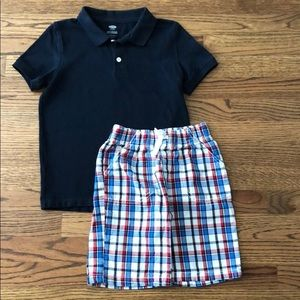 Old navy shirt 6/7 and check shorts size 6